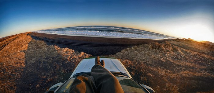 Тихий океан. Халактырский пляж, полуостров Камчатка. Океан, Панорама, Камчатка, Горизонт, Красота, Внедорожник, Nikon, Природа