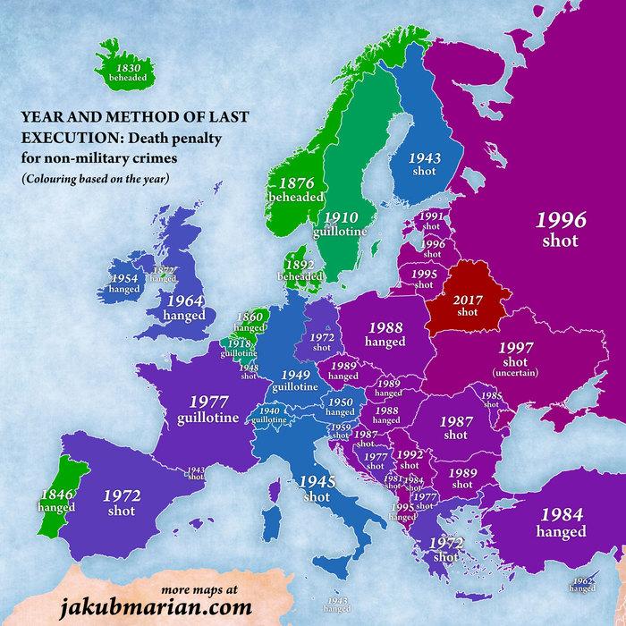 Последний смертный приговор в странах Европы Европа, Казнь, Карты, Инфографика, Длиннопост