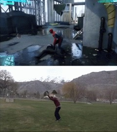Как трюки из Marvel's Spider-Man выглядят в реальной жизни? Человек-Паук, Marvel, Игры, Каскадер, Гифка, Видео, Длиннопост