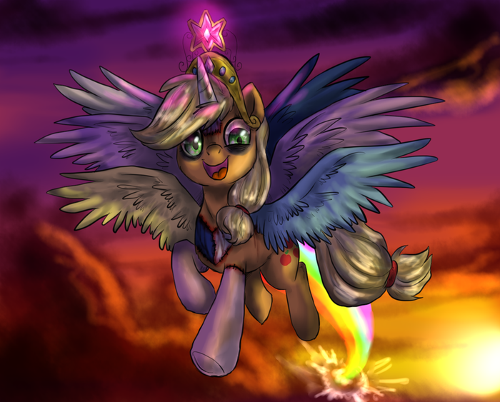Let's fly to the mah castle! My little pony, GrimDark, Darkpony, Mane 6, Princess Celestia, Princess luna
