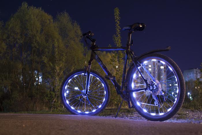 Велосипедное Велосипед, Светодиоды, LED, Ночная съемка