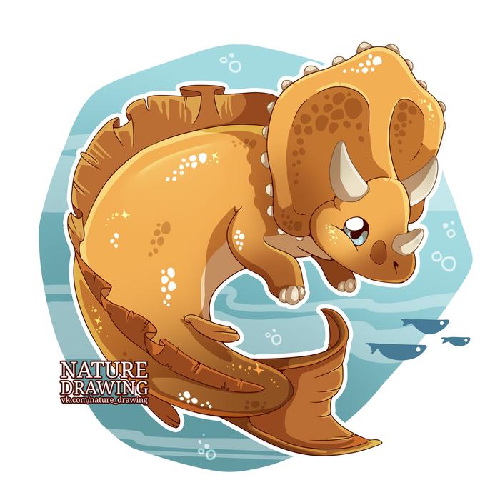 MerMay - Трицератопс Моё, Рисунок, Динозавры, Mermay, Трицератопс, Цифровой рисунок