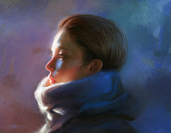 Исследование цвета. Портрет, Девушки, Цвет, Профиль, Иллюстрации, Арт, 2d