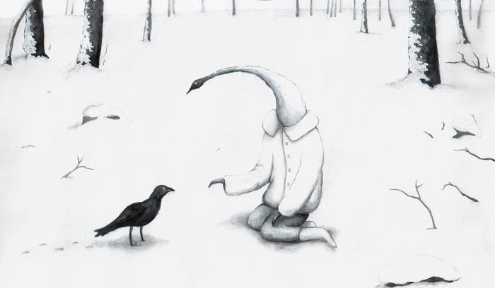 Зимний лес Зимний лес, Птицы, Картина, Лес, Зима, Снег