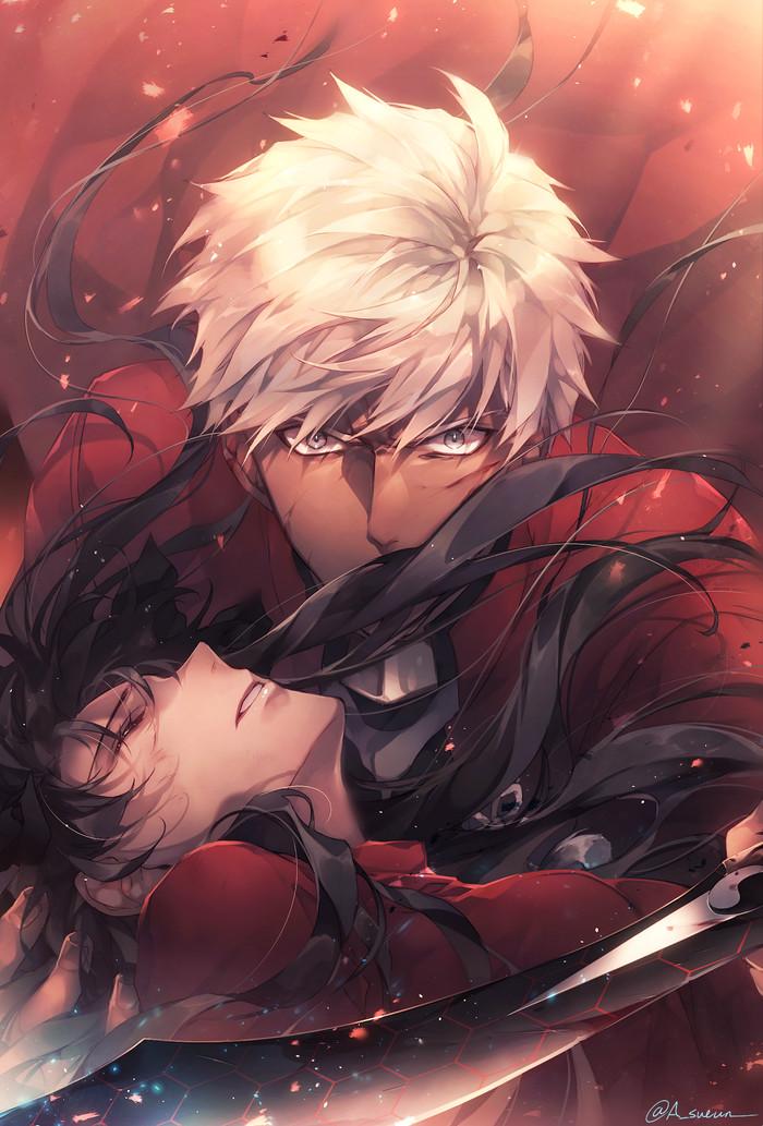Tohsaka Rin x Archer Аниме, Anime Art, Fate, Fate-Stay night, Archer, Tohsaka Rin, Emiya Shirou