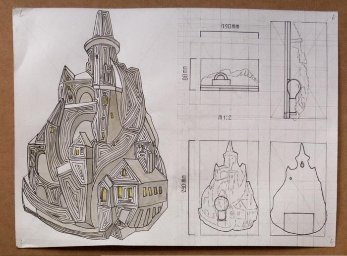 Ночник - замок. Гальванопластика. Искусство, Светильник, металл, Замок, средневековье, лампа, творчество, гальванопластика, длиннопост