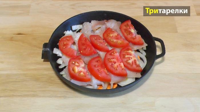 Рыба в духовке с овощами Рецепт, Рыба запеченная, Рыба с овощами, Видео рецепт, Видео, Длиннопост, Кулинария, Рыба