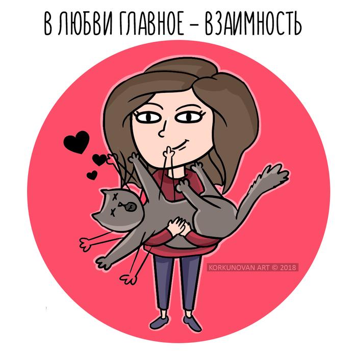 Взаимность Кот, Цифровой рисунок, Взаимность, Любовь, Korkunovan, Рисунок