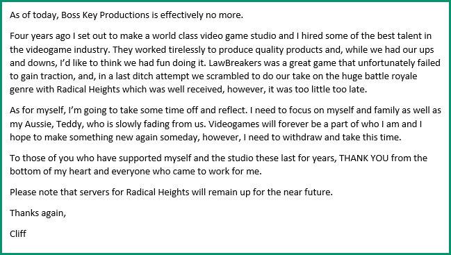 Клифф Блежински объявил о закрытии своей студии в связи с провалом LawBreakers Клифф Блежински, Radical Heights, LawBreakers, Boss Key Productions, Закрытие, Epic Games, Длиннопост