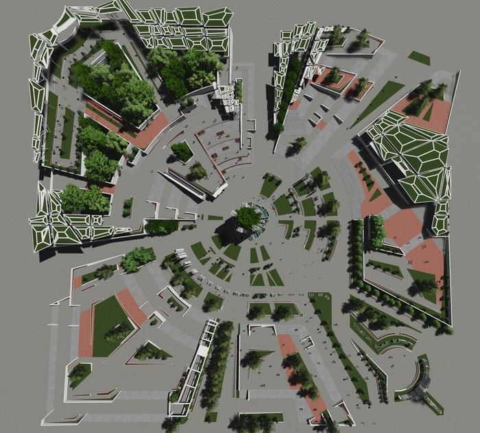 """Зеленый проект """"OASIS"""" Архитектура, Проектирование, Дизайн, Сквер, Парк, Концепт, Эскиз, Проект, Длиннопост"""