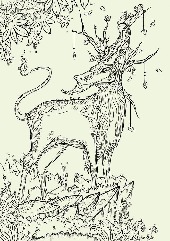 Лесной дух Харгал Графика, Photoshop, Арт, Лесной Дух, Лес, Дух, Рисунок, Цифровой рисунок