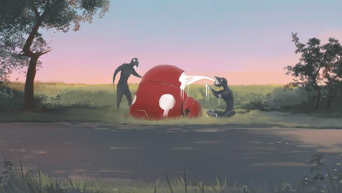 """Порванный мир #11. """"Равнодушно проходим мимо"""" VeoWind, Порванный мир, Цифровой рисунок, Робот, Научная фантастика, Фэнтези, Рисунок, Река"""