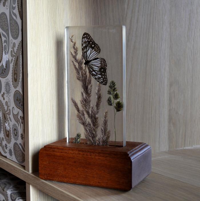 Ко мне залетела бабочка... ночник, светильник, рукоделие без процесса, рукоделие, ручная работа, бабочка, дерево, длиннопост