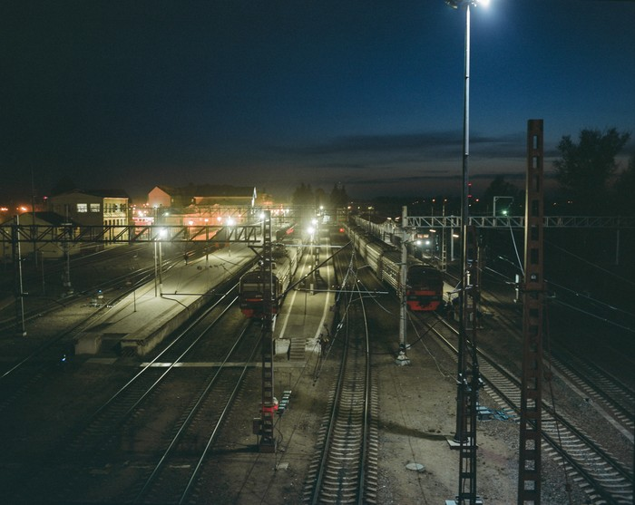 Вокзал города Выборга Выборг, Вокзал, Ночь, Поезд, Плёнка, Pentax