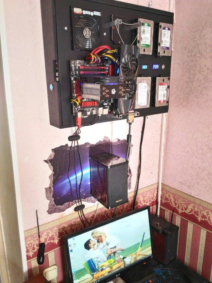 Компьютер на стене Компьютер, Самоделки, Своими руками, Длиннопост