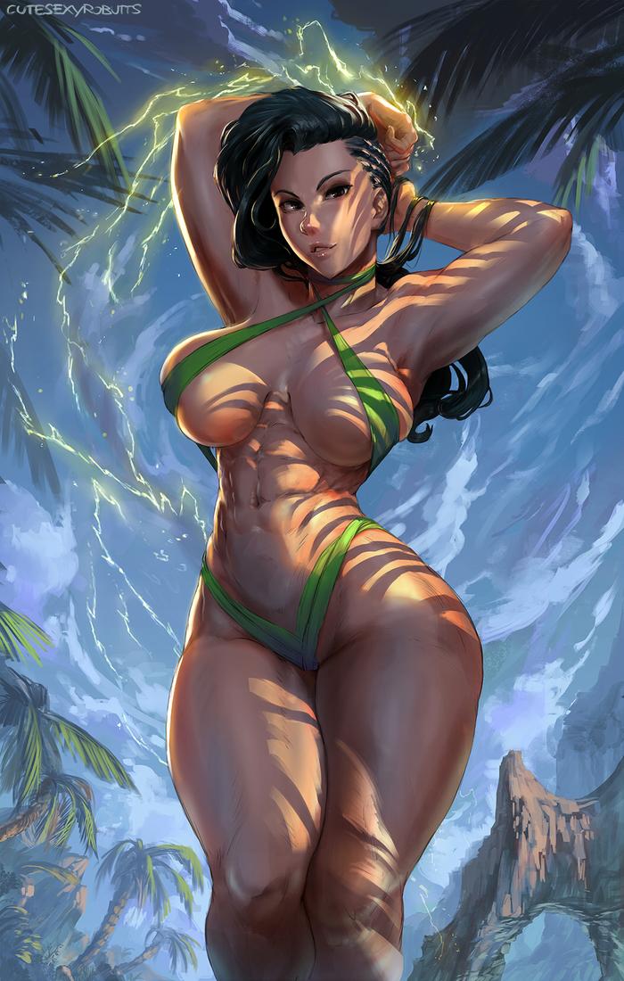 Laura Matsuda Cutesexyrobutts, Арт, Крепкая девушка, Laura matsuda, Street Fighter, Фитоняшка, Бикини, Спортивные девушки