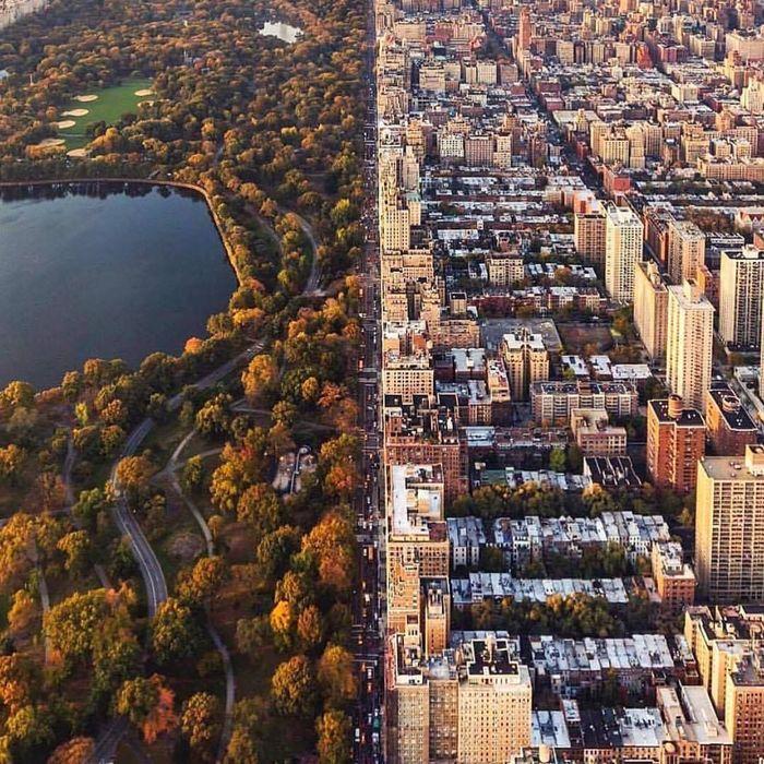 Граница центрального парка на Манхэттене