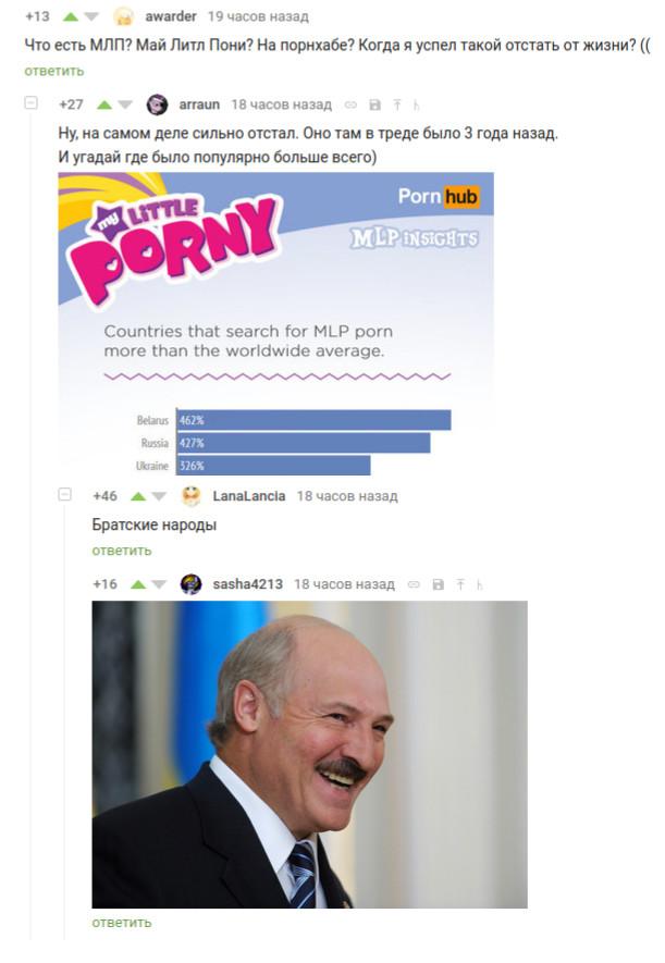 Так вот что нас объединяет Комментарии, комментарии на пикабу, скриншот, my littlle pony, братские народы, pornhub