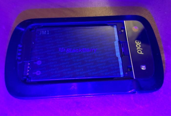 Любопытная особенность старенькой BlackBerry. BlackBerry, Проверка, Ультрафиолет, Длиннопост, Телефон