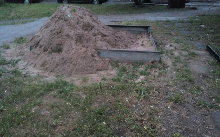 Сделали песочницу детям, называется... Песочница, Рукожоп