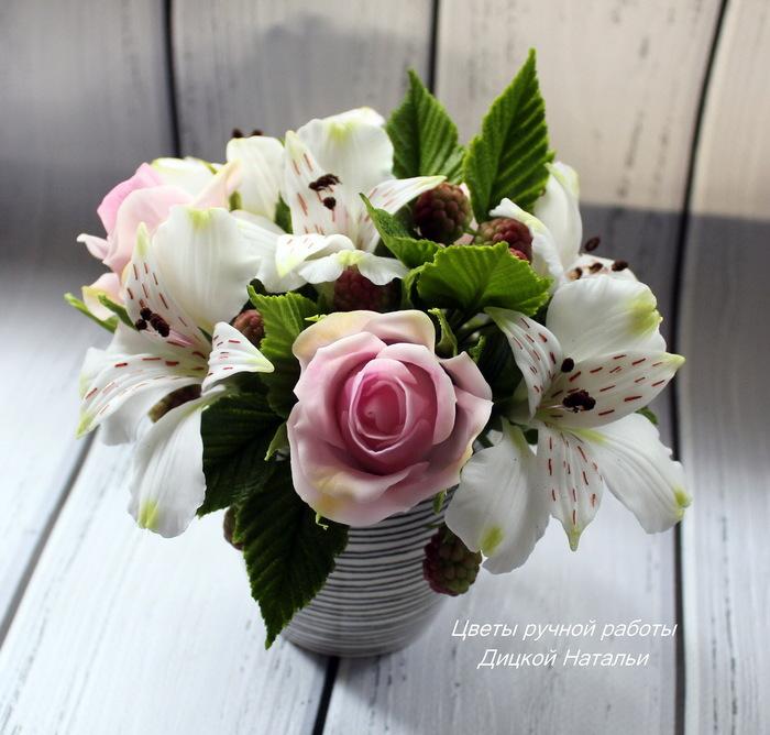 Композиция в чашке Глина, Полимерная глина, Цветы