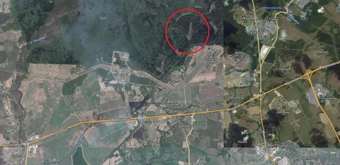 Что это за гигантская стрелка в лесу? Фотография, Смоленск, География, Странности, NASA UFO, Яндекс карты