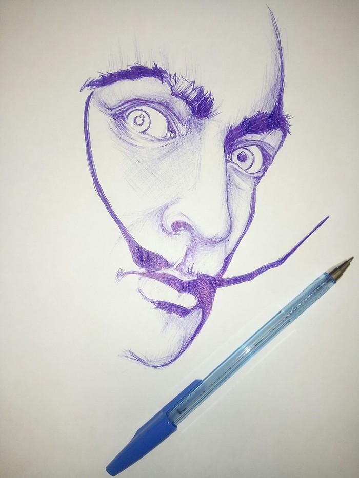 Чумачечие усы Сальвадор Дали, Непрофессионал, Неумеюноочень хочется, Рисунок ручкой