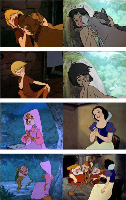 Disney Magic = Ctrl - C and Ctrl - V Walt Disney, Advego plagiatus, Книга джунглей, Робин Гуд, Белоснежка, Меч на камне