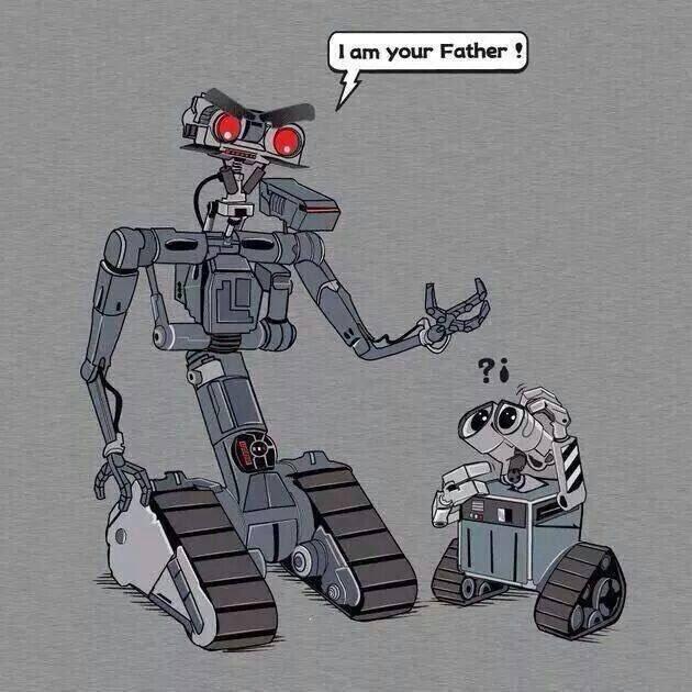 """Пятый из фильма """"Короткое замыкание"""" и Wall-e Star wars, Валл-и, Рисунок, Юмор, Короткое замыкание, Отец, Батя, Робот"""