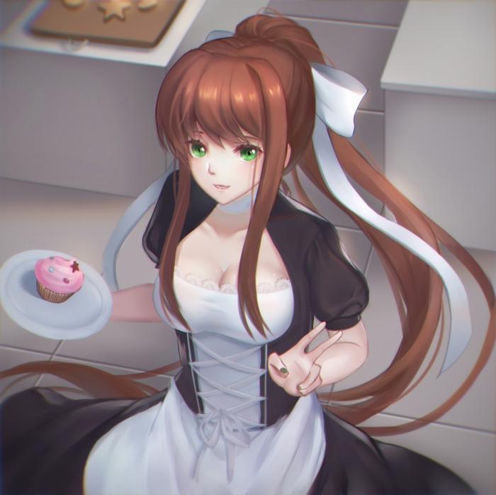 Monika Doki doki literature club, Визуальная новелла, Не аниме, Арт, Monika, Длиннопост