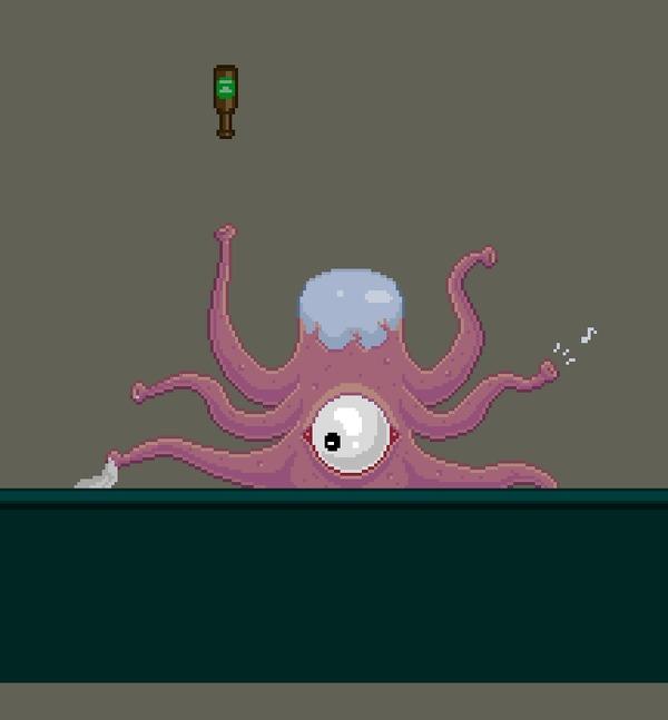 Бармен-пришелец Pixel art, Разработка игр, Gamedev, Бармен, Пришелец, Тентакли, Gif анимация, Гифка