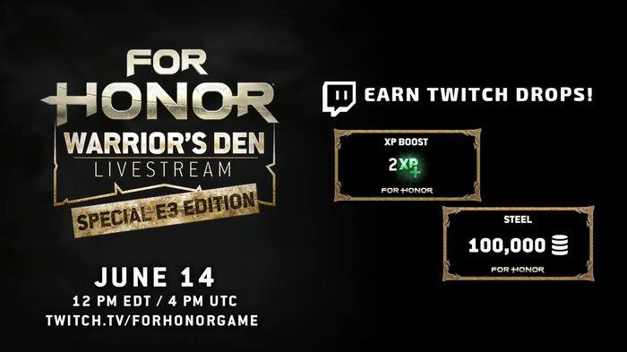 100 000 стали за просмотр трансляции For Honor Warrior's Den E3! For honor, Ubisoft, Twitchtv