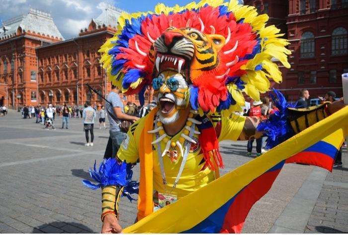 Колумбийский фанат в Москве Колумбия, Футбол, Фанаты