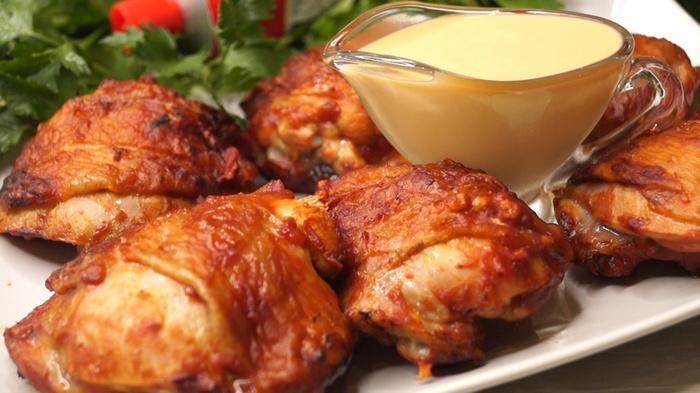 Курица в быстром маринаде и горчичный соус к мясу Курица, Курица гриль, Рецепт, Видео рецепт, Видео, Длиннопост