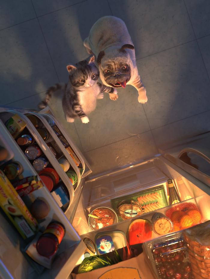 """Холодильник Пандоры"". Кот, Собака, Мопс, Холодильник, Ящик пандоры, Арт, Digital 3D"