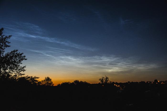 Серебристые облака в Чебоксарах прошлой ночью Атмосферно, Фотография, Хобби, Рассвет, Облака, Небо, Сумерки