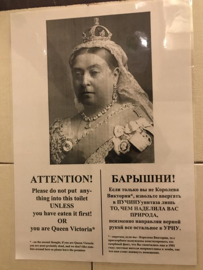 Соблюдайте чистоту даже, если вы королева Виктория Королева виктория, Объявление