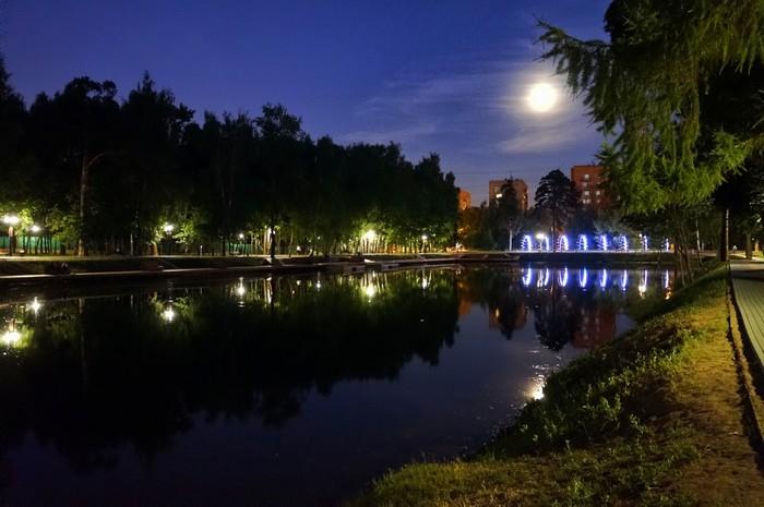 Ночь в Красногорске Ночная съемка, Пруд, Фотография, Красногорск, Ивановские озёра, Длиннопост