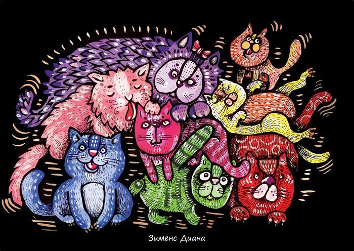 Слова-абсолюты и много котиков. Кот, Рисунок, Тверь, Векторная графика, Я художник - я так вижу, Диана зименс, Длиннопост