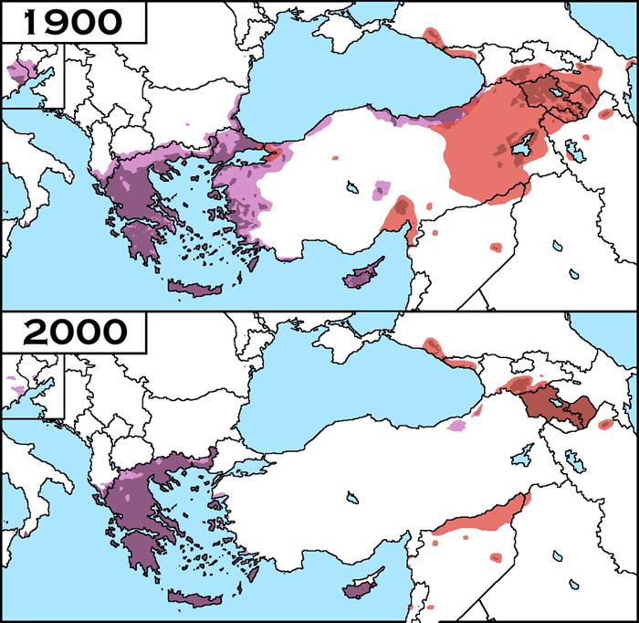Сравнение мест проживания Греков и Армян в 1900 и 2000 годах Карты, Анатолия, Ближний восток, Греция, Армения