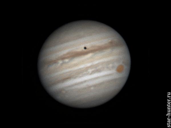 Юпитер, Ио. 10 июня 2018 года, 22:44 Юпитер, планета, астрофото, астрономия, космос, StarHunter, АнапаДвор, гифка