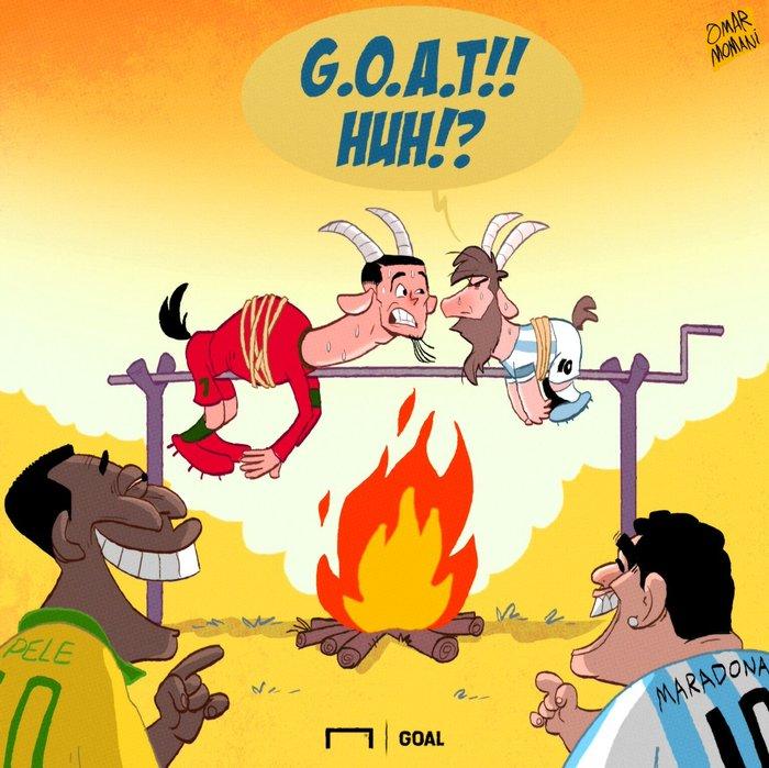 Карикатура Криштиану Роналду, Месси, Футбол, Пеле, Марадона