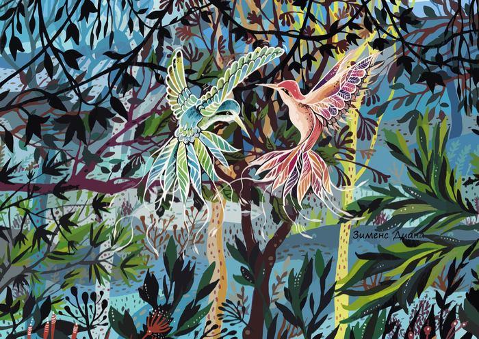 Колибри. Акрил, Джунгли, Колибри, Картина, Диана зименс, Длиннопост, Птицы, Растения
