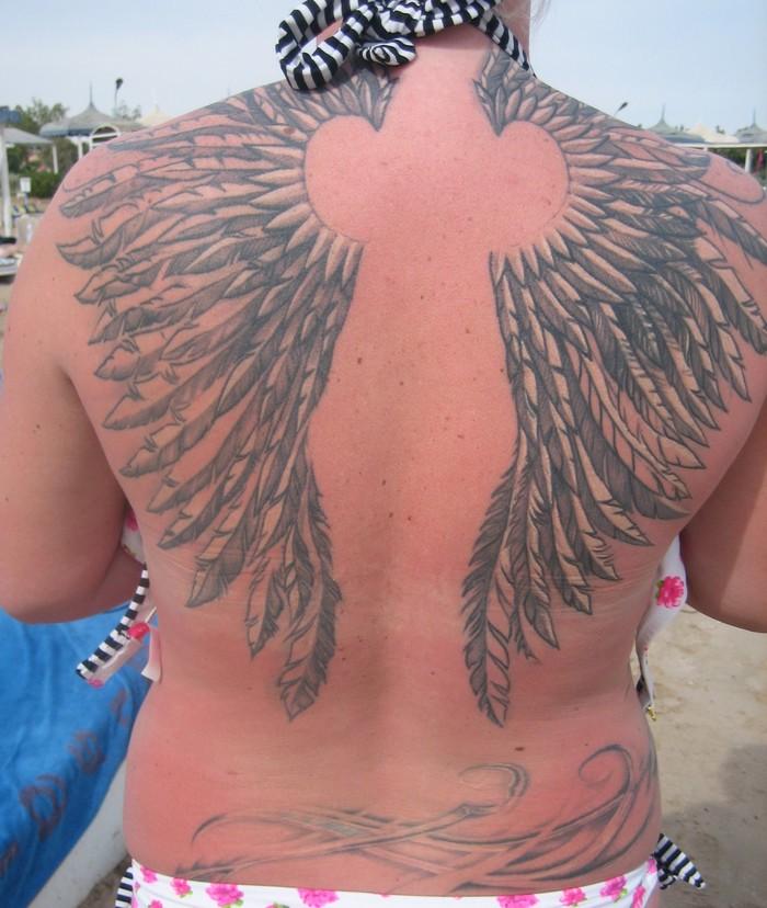 Тату крылья Загар, Тату, Пляж, Солнечный ожог, Необычное