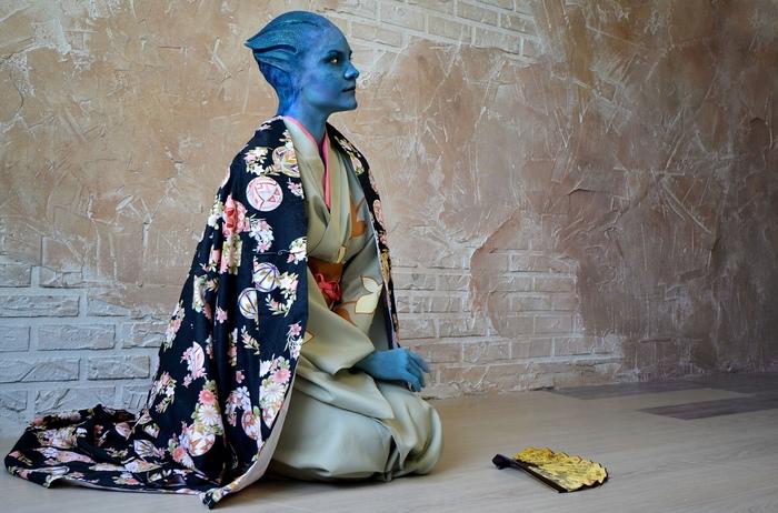 Incompatible - asari in kimono Азари, Mass effect, Liara T'Soni, Кимоно, Bioware, Mass effect 1, Косплей, Geeks