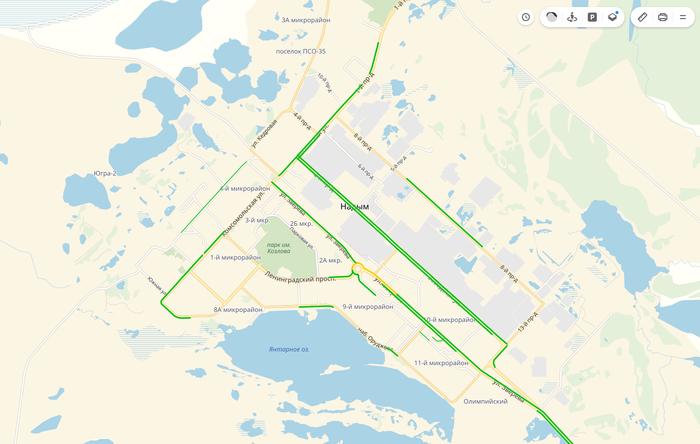 В Надыме сегодня пробочно Яндекс пробки, Путь домой