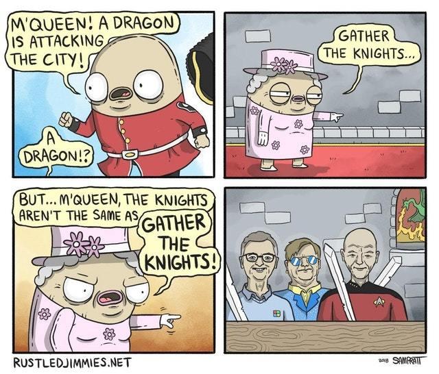 Рыцари Рыцарь, Королева, Элтон джон, Билл гейтс, Патрик стюарт, Дракон, Комиксы