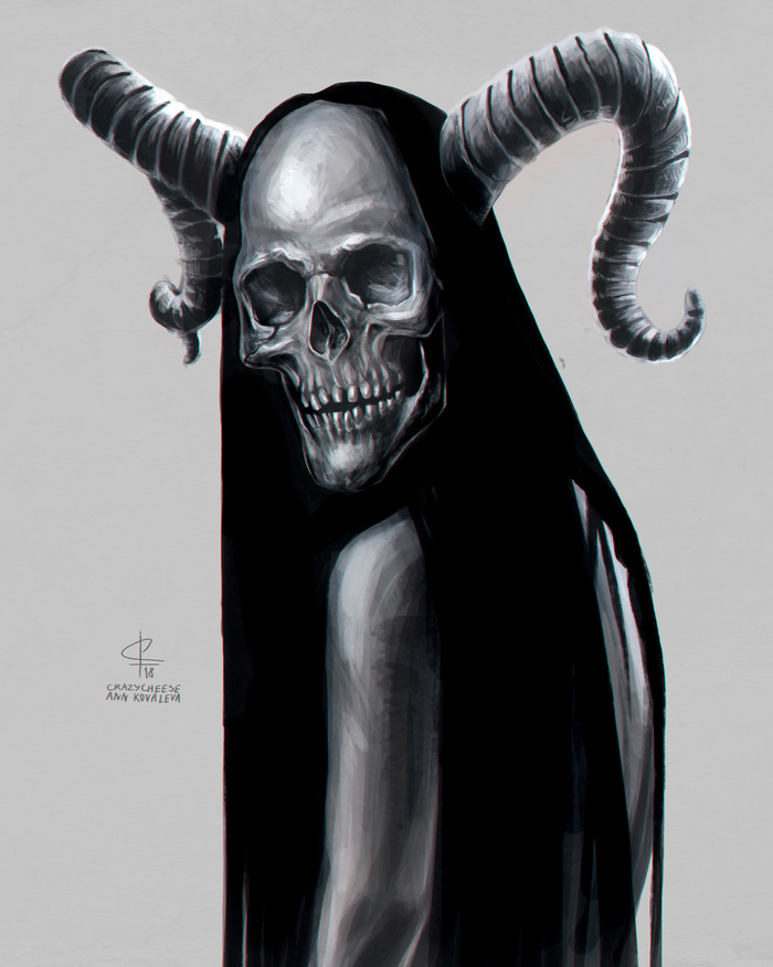 Creepy skull girl Рисунок, Крипота, Красивая девушка, Череп, Skullyjuly, Цифровой рисунок, Photoshop
