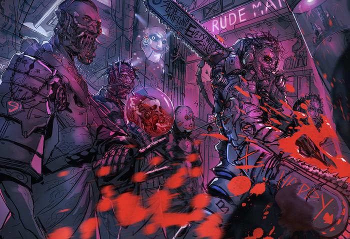 Злодеи из фильмов ужасов в стиле киберпанк Фредди крюгер, Крик, Пинхэд, Кожаное лицо, Джейсон, Ганнибал, Пила, Арт