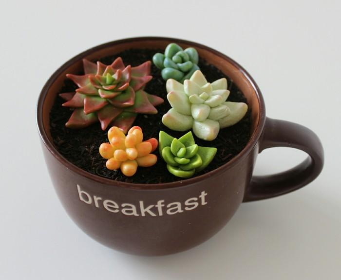 Суккуленты на завтрак Суккуленты, Холодный фарфор, Завтрак, Своими руками, Длиннопост